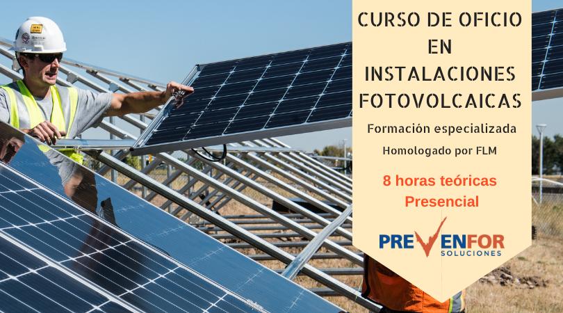 Portada del curso de oficio en instalaciones fotovoltaicas